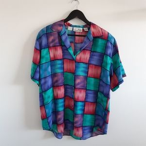 VINTAGE Colorblock Checked Short Sleeve Blouse